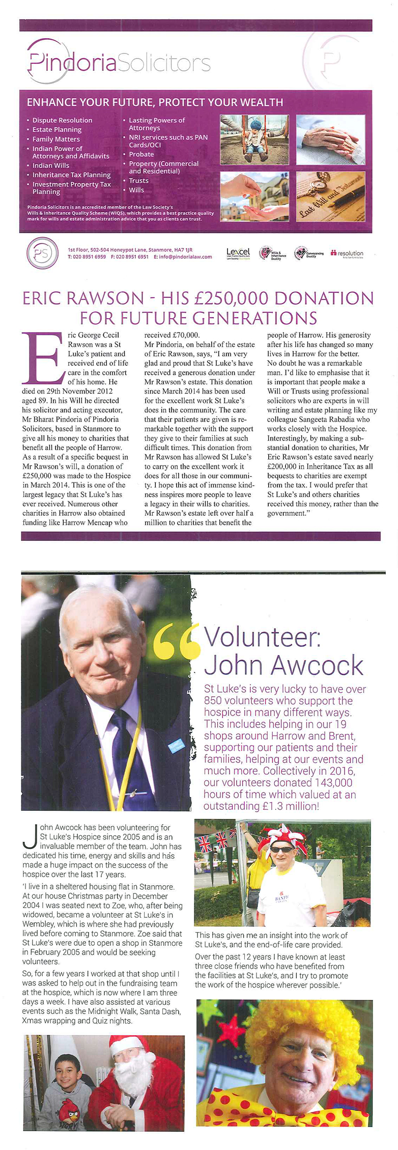 Pindoria Solicitors Feature in St Luke's Hospice 30 Years of Care Publication